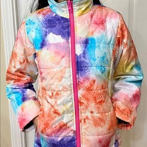 Girls colourful winter jacket Ages: 7-8